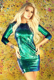 Girl in shiny party dress Royalty Free Stock Images