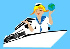 Girl on the ship Royalty Free Stock Image