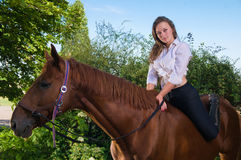 Girl in a shirt and a horse Royalty Free Stock Photography