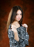 girl in a shirt with naked shoulders Stock Photos