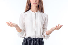 Girl in shirt raises hands on parties is isolated  a white background Stock Photo
