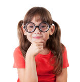 Girl in the shirt and round glasses Stock Image