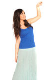 Girl in a shirt and skirt isolated Stock Image