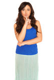 Girl in a shirt and skirt isolated Stock Photography