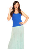 Girl in a shirt and skirt isolated Royalty Free Stock Photos