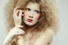 Girl with shock hair-do Royalty Free Stock Images