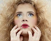 Girl with shock hair-do Royalty Free Stock Photography