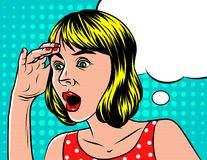 A Girl in shocked emotion. Woman holds a hand on her head. The girl in surprise. Speech bubble over background of pop art style Stock Photography