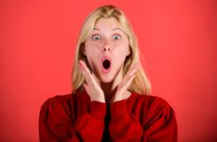 Girl shocked overwhelmed by surprise. Surprised woman cant believe her eyes. Christmas is coming soon. Lack of time. Shocked face blonde girl. Lady shocked stock photo