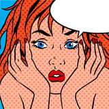 Girl shocked Pop art vintage comic Stock Image