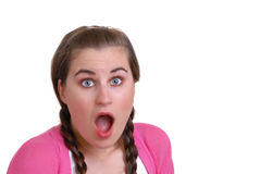 Girl shocked or surprised - isolated on white Royalty Free Stock Image