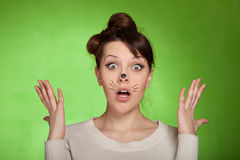 Girl shocked what is happening Royalty Free Stock Image