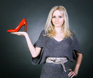 Girl and shoe. Royalty Free Stock Photos