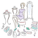 Girl in a Shoe Shop. Watercolor-style illustration  of a  woman in a shoe shop. Drawn with Illustrator brushes to achieve natural media look in digital file Royalty Free Stock Image