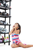 Girl and shoes Royalty Free Stock Photography