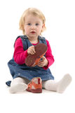 Girl and shoes Stock Images