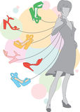 Girl with shoes Stock Images