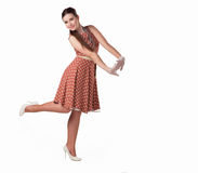 Girl in shoes. Girl smiling Royalty Free Stock Image