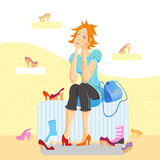 Girl in a shoes store Royalty Free Stock Photo