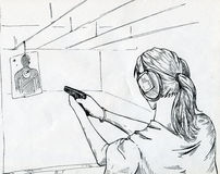 Girl in a shooting gallery. Aiming at the target. Ink drawn sketch Royalty Free Stock Photo