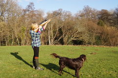 Girl Shooting Game. Girl with rifle shooting game with retriever dog in rural English countryside Royalty Free Stock Photo