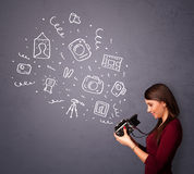 Girl shooting photography icons Stock Photos