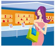 Girl in the shop royalty free stock photo