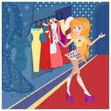 The girl in the shop Royalty Free Stock Photo