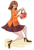 Girl with shoping bag. Illustration of girl holding shopping bag Stock Photos