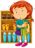 Girl shoplifting at the store Royalty Free Stock Photography