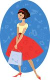 Girl shopping. Young lady in accessories store Royalty Free Illustration