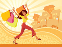 Girl shopping. Vector illustration of girl with shopping bags Stock Image