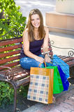 Girl with shopping Stock Photography