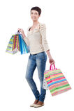 Girl after the shopping Royalty Free Stock Image