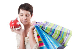 Girl after the shopping Stock Photos