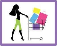 Girl on shopping. Pretty girl hurries for shopping. It season sale Royalty Free Illustration