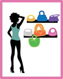Girl on shopping. Pretty girl hurries for shopping. It season sale vector illustration
