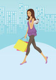 Girl shopping. Happy girl holding shopping bags, satisfied with her buys. Vector is also available Royalty Free Stock Photo