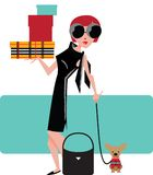 Girl shopping. Rich girl with dog shopping Royalty Free Stock Images