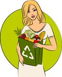 Girl with a shopping bag Stock Photo