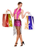 Girl with shopping bag. Ball dance. Royalty Free Stock Photos