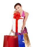 Girl with shopping bag. Ballroom dance. Royalty Free Stock Images