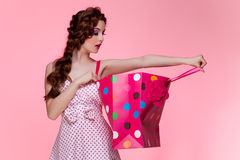Girl with shopping bag Stock Photos
