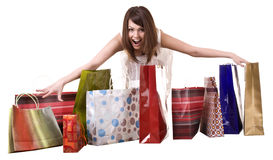 Girl with shopping bag. Isolated. Royalty Free Stock Image