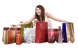 Girl with shopping bag. Isolated. Royalty Free Stock Photography