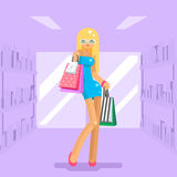 Girl shopping bag package purchase flat design character vector illustration Stock Image