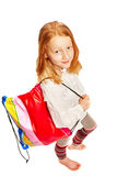 Girl with shopping bag top view. Young girl with shopping bag top view royalty free stock image