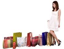 Girl with shopping bag wait for  taxi. Stock Images