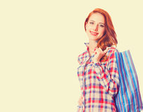 Girl with shopping bag Royalty Free Stock Photography