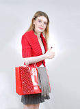 Girl shopping bag Royalty Free Stock Images